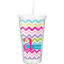 Colorful Chevron Double Wall Tumbler with Straw (Personalized)