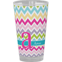 Colorful Chevron Drinking / Pint Glass (Personalized)