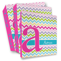 Colorful Chevron 3 Ring Binder - Full Wrap (Personalized)