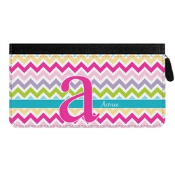 Colorful Chevron Genuine Leather Ladies Zippered Wallet (Personalized)