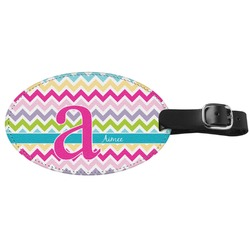 Colorful Chevron Genuine Leather Oval Luggage Tag (Personalized)