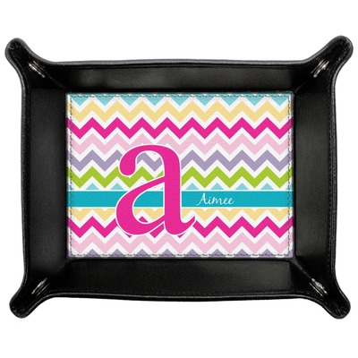 Colorful Chevron Genuine Leather Valet Tray (Personalized)