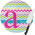 Colorful Chevron Round Glass Cutting Board (Personalized)