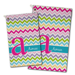 Colorful Chevron Golf Towel - Full Print w/ Name and Initial