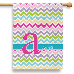 """Colorful Chevron 28"""" House Flag (Personalized)"""