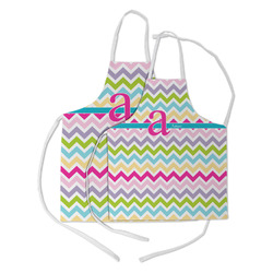 Colorful Chevron Kid's Apron w/ Name and Initial