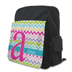 Colorful Chevron Kid's Backpack with Customizable Flap (Personalized)