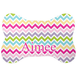 Colorful Chevron Bone Shaped Dog Food Mat (Personalized)