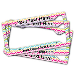 Colorful Chevron License Plate Frame (Personalized)