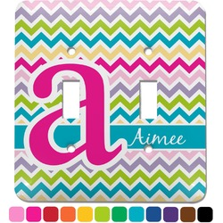 Colorful Chevron Light Switch Cover (2 Toggle Plate) (Personalized)