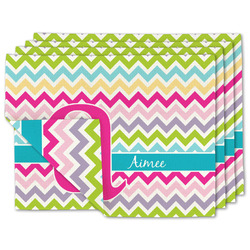 Colorful Chevron Linen Placemat w/ Name and Initial