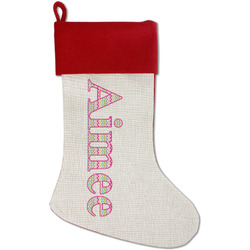 Colorful Chevron Red Linen Stocking (Personalized)