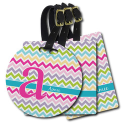 Colorful Chevron Plastic Luggage Tags (Personalized)