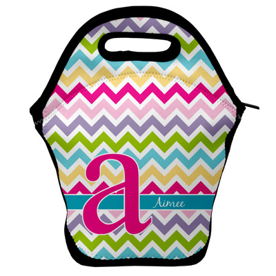 Colorful Chevron Lunch Bag w/ Name and Initial