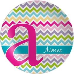 Colorful Chevron Melamine Plate (Personalized)
