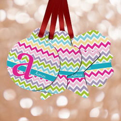 Colorful Chevron Metal Ornaments - Double Sided w/ Name and Initial
