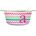 Colorful Chevron Stainless Steel Pet Bowl (Personalized)
