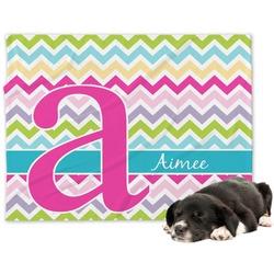 Colorful Chevron Minky Dog Blanket - Large  (Personalized)