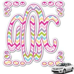 Colorful Chevron Monogram Car Decal (Personalized)