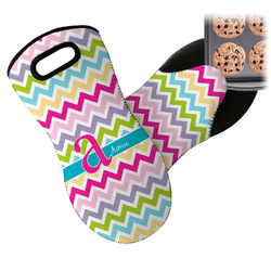 Colorful Chevron Neoprene Oven Mitts w/ Name and Initial