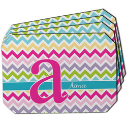 Colorful Chevron Dining Table Mat - Octagon w/ Name and Initial