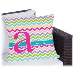 """Colorful Chevron Outdoor Pillow - 18"""" (Personalized)"""