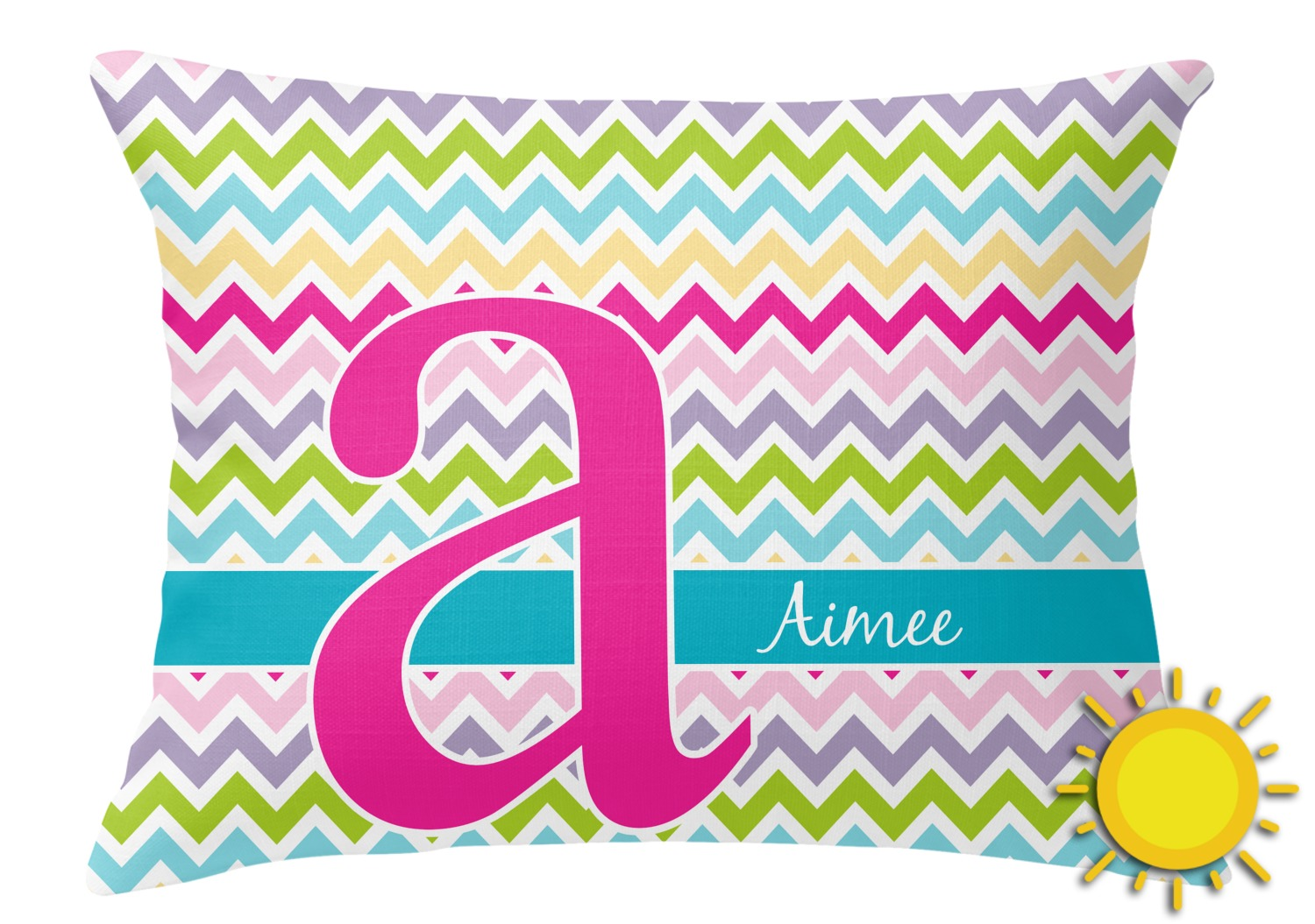 Colorful Chevron Outdoor Throw Pillow (Rectangular) (Personalized) - YouCustomizeIt