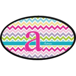 Colorful Chevron Oval Trailer Hitch Cover (Personalized)