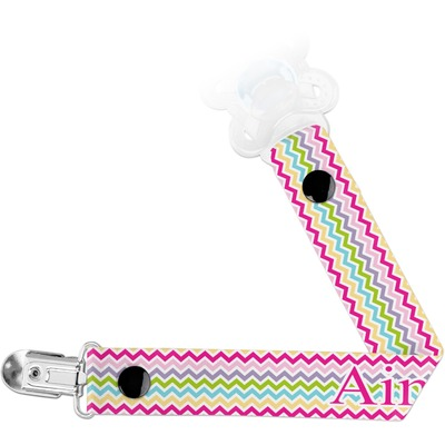 Colorful Chevron Pacifier Clips (Personalized)