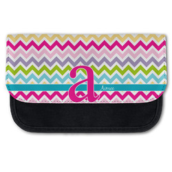 Colorful Chevron Canvas Pencil Case w/ Name and Initial