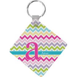 Colorful Chevron Diamond Key Chain (Personalized)