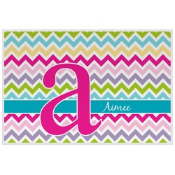 Colorful Chevron Laminated Placemat w/ Name and Initial