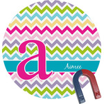 Colorful Chevron Round Magnet (Personalized)