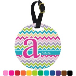 Colorful Chevron Round Luggage Tag (Personalized)
