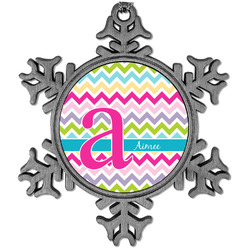 Colorful Chevron Vintage Snowflake Ornament (Personalized)
