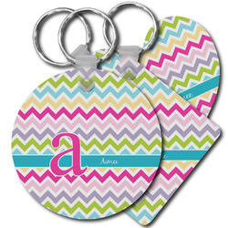 Colorful Chevron Plastic Keychains (Personalized)