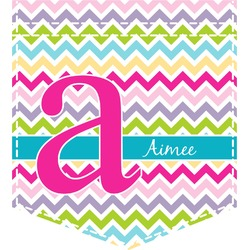 Colorful Chevron Iron On Faux Pocket (Personalized)