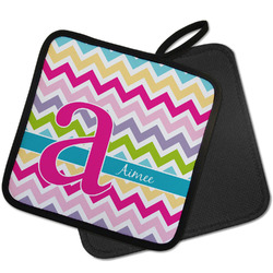 Colorful Chevron Pot Holder w/ Name and Initial