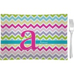 Colorful Chevron Glass Rectangular Appetizer / Dessert Plate - Single or Set (Personalized)