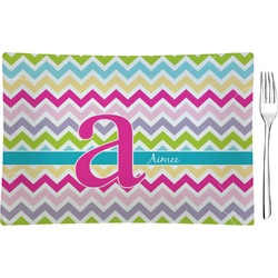 Colorful Chevron Rectangular Glass Appetizer / Dessert Plate - Single or Set (Personalized)