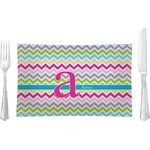 Colorful Chevron Glass Rectangular Lunch / Dinner Plate - Single or Set (Personalized)