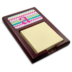 Colorful Chevron Red Mahogany Sticky Note Holder (Personalized)