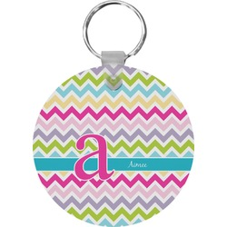 Colorful Chevron Round Keychain (Personalized)