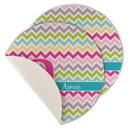 Colorful Chevron Round Linen Placemat (Personalized)