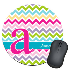 Colorful Chevron Round Mouse Pad (Personalized)