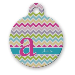 Colorful Chevron Round Pet Tag (Personalized)