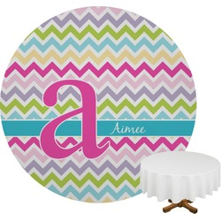 Colorful Chevron Round Tablecloth (Personalized)