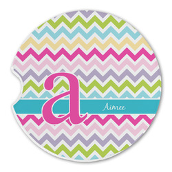 Colorful Chevron Sandstone Car Coaster - Single (Personalized)