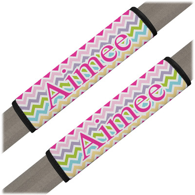 Colorful Chevron Seat Belt Covers (Set of 2) (Personalized)
