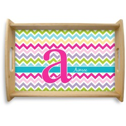 Colorful Chevron Natural Wooden Tray (Personalized)